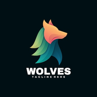 Logo illustration wolves farbverlauf bunter stil.