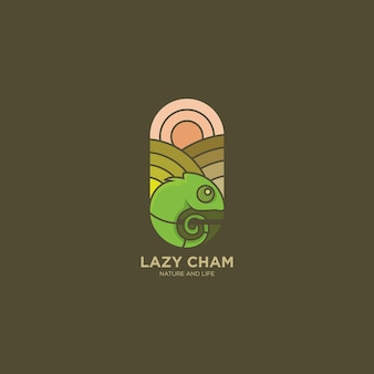 Logo-illustrationsdesign des chamäleons flaches