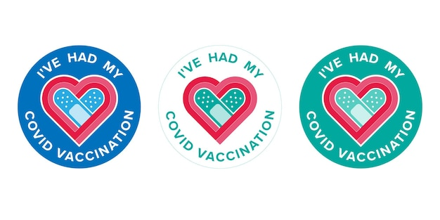 Logo-impfung mit text ich habe meine covid-impfung für geimpfte gemacht. aufkleber für die coronavirus-impfstoffkampagne. medizin- und gesundheitskonzepte