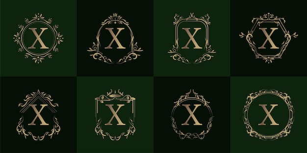 Logo initial x mit luxusverzierung oder blumenrahmen, set kollektion.