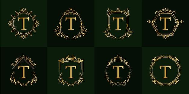 Logo initiale t mit luxus ornament oder blumenrahmen, set kollektion.