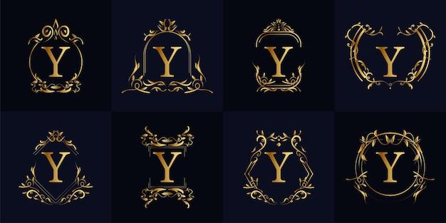 Logo initiale y mit luxusverzierung oder blumenrahmen, set kollektion.