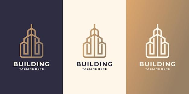 Logo-inspiration bauen. minimale immobilien, baumeister, bau, eigentum, modernes wohndesign.