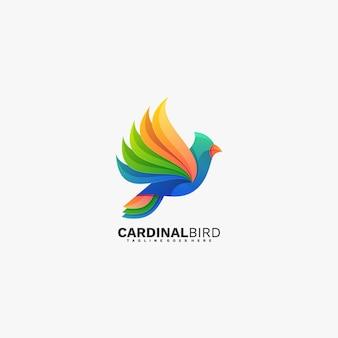 Logo kardinal vogel farbverlauf bunter stil.