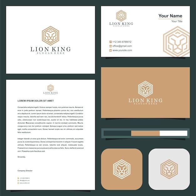 Logo könig der löwen im visitenkarten-premium-vektor