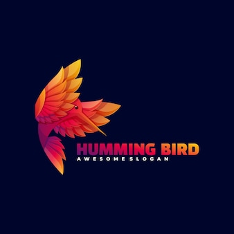 Logo kolibri farbverlauf bunter stil.