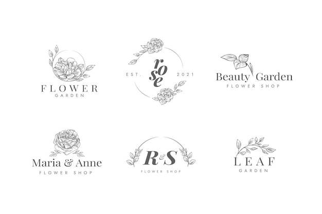 Logo-kollektion für blumengeschäfte