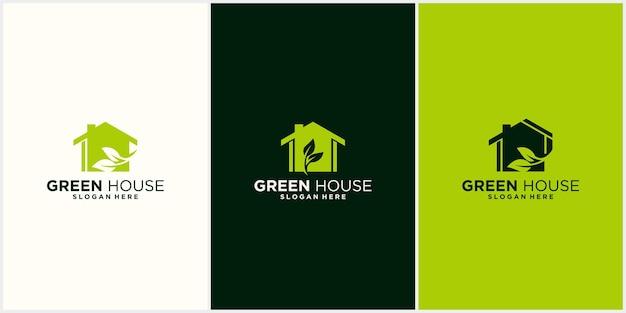 Logo-kombination aus blättern und haus natur-logo-design für zuhause blumen-logo-design schön Premium Vektoren