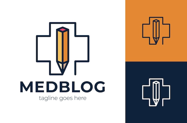 Logo-konzept der kreativitätsklinik, medizinisches kreuz mit bleistiftkombination, einfaches farblogo