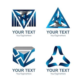Logo-konzeptschablone des abstrakten dreiecks 3d