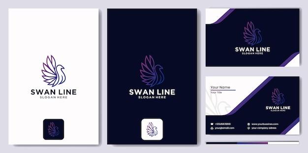 Logo-linie abstrakter schwan, schablonenvektordesign linearer stil, luxus-linienkunst-schwan-logo-design mit visitenkartenschablone mit moderner farbverlaufsfarbe