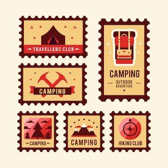Logo-logo des kampierenden wildnisabenteuerausweis-grafikdesigns