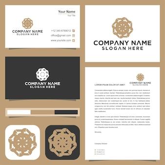Logo lotus mandala blume und visitenkarte premium