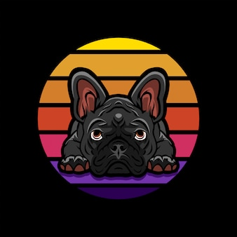 Logo maskottchen französische bulldogge