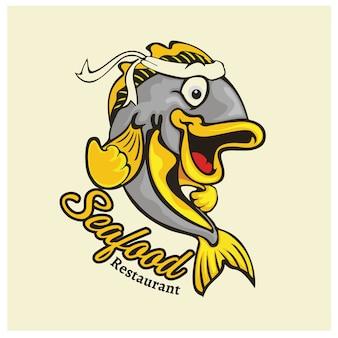 Logo maskottchen für fischrestaurant