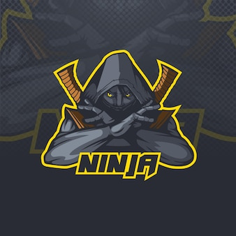 Logo-maskottchen ninja assassin esports-team oder clubillustration.