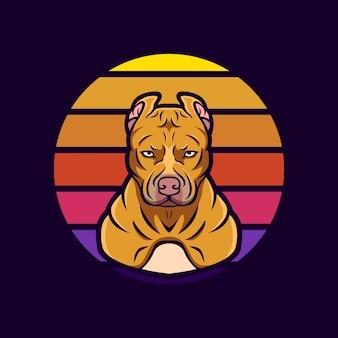 Logo maskottchen pitbull retro