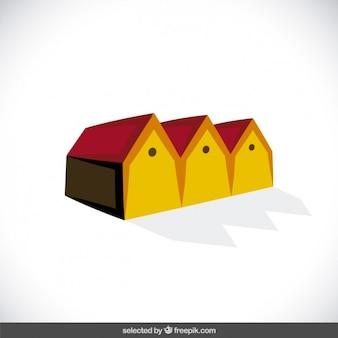 Logo mit 3d-häuser
