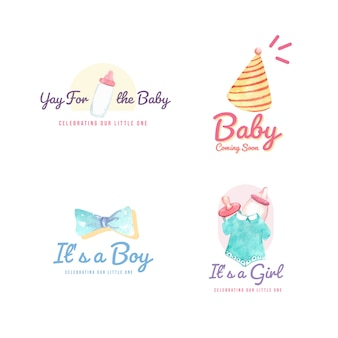 Logo mit babyparty-entwurfskonzept für marken- und marketingaquarellvektorillustration.