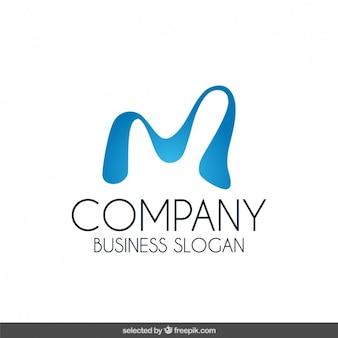 Logo mit blauen wellenförmigen ausgangs