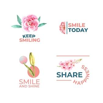 Logo mit blumenstraußentwurf für weltlächeltagkonzept zum branding und zur vermarktung der aquarellvektorillustration.