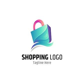 Logo mit farbverlauf der einkaufstasche