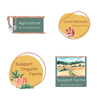 Logo mit farm bio-konzept design aquarell illustration.