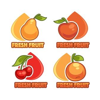 Logo mit frischen früchten und beeren