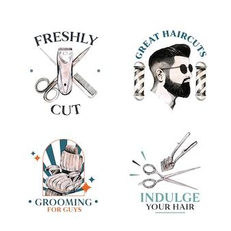 Logo mit friseurkonzeptdesign für das branding.