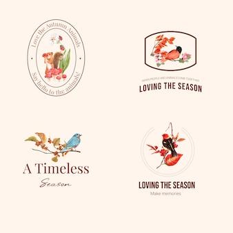 Logo mit herbstwald und tieren