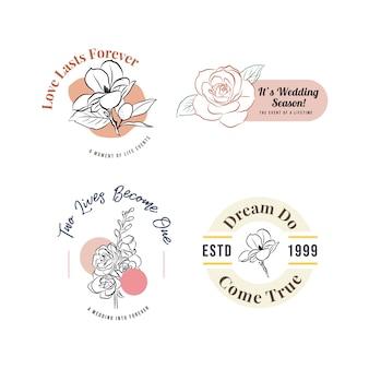 Logo mit hochzeitszeremonie für branding und ikone