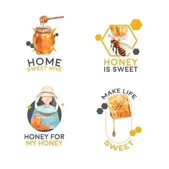 Logo mit honig für branding und marketing aquarell