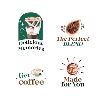 Logo mit internationalem kaffeetag-konzeptdesign für marken- und marketingaquarell