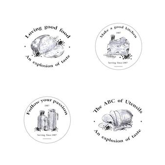 Logo mit küchengerätekonzeptentwurf für marken- und marketingvektorillustration