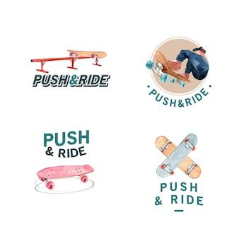 Logo mit skateboard-designkonzept für marken- und marketingaquarellvektorillustration.