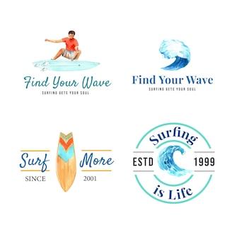 Logo mit surfbrettern am strand