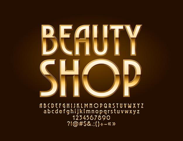 Logo mit text beauty shop. elite-satz von buchstaben, zahlen und interpunktionssymbolen des goldenen alphabets.