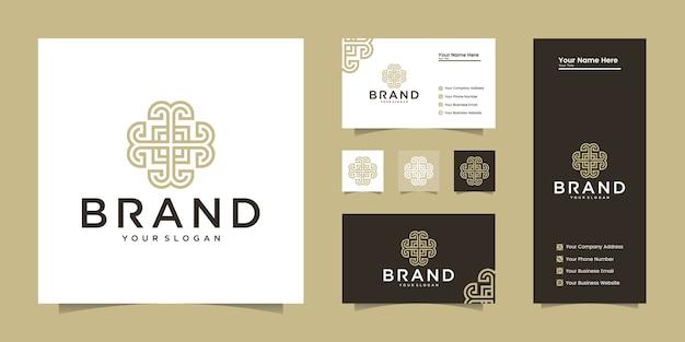 Logo monogramm luxus gold linie kunst stil premium