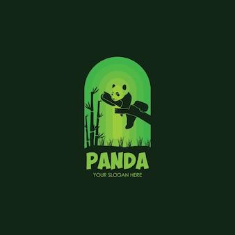 Logo nacht panda flache vorlage