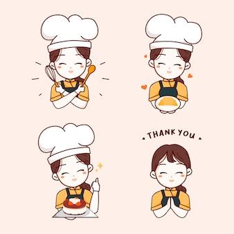 Logo niedliche köchin, die teller-croissant-geburtstagstorte, küchenwerkzeuge hält, sagt, danke elemente