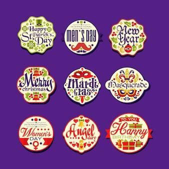 Logo oder etikettenset für urlaub retro. vintage bunte verzierungen auf festlichen aufklebern mit grüßen. frohe weihnachten, neujahr, alles gute zum geburtstag, st. patrick's day, maskerade.