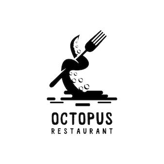Logo oktopus mit gabel sillhouette stil