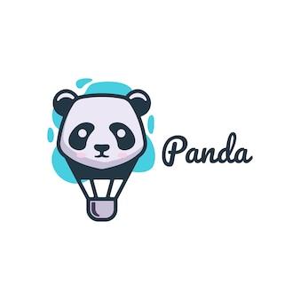 Logo panda air einfacher maskottchen-stil.