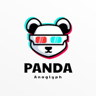 Logo panda einfacher maskottchen-stil.