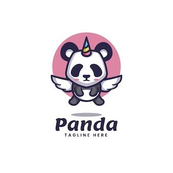 Logo panda einhorn einfacher maskottchen-stil.