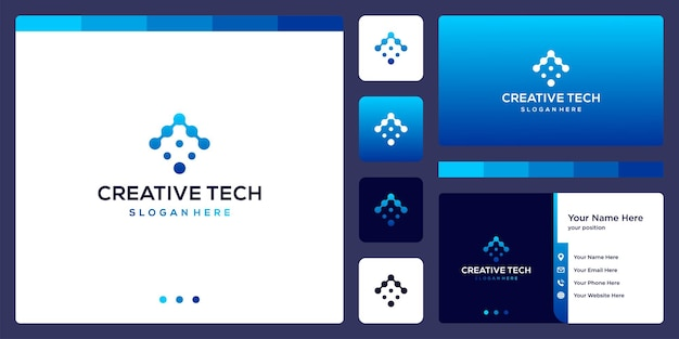 Logo-pfeilmarkierung mit tech-stil und farbverlauf. visitenkarte.
