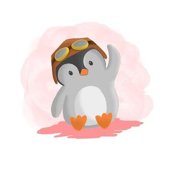 Logo pilot penguin einfacher maskottchen-stil.