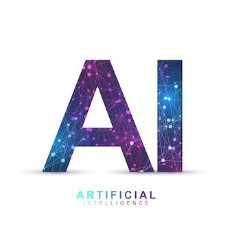 Logo-plexus-effekt der künstlichen intelligenz