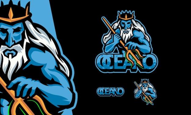 Logo poseidon gaming premium maskottchen-vektorillustration