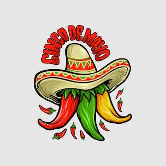 Logo restaurant cinco de mayo mexikanisches chili-maskottchen